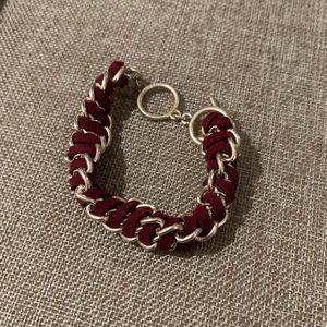 Gold and Red Velvet Bracelet